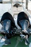 Mała motorboat kurtyzacja przy marina Obraz Royalty Free