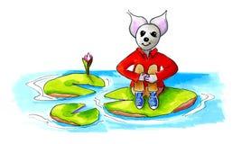 Mała mysz na wodnej lelui Fotografia Royalty Free