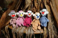 Małpa, symbol, inteligentna, handmade, trykotowa zabawka, Obrazy Stock