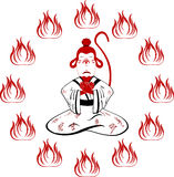 Małpa w kimonie z hieroglifami Zdjęcia Stock