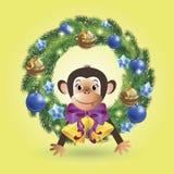 Małpa w wianku royalty ilustracja