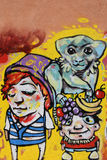 Małpa z owocowymi graffiti Fotografia Stock