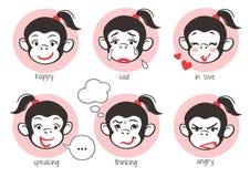 Małpi dziewczyny twarzy emoji Zdjęcia Stock