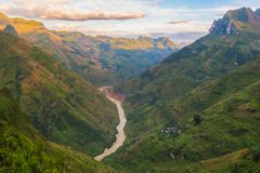 On Ma Pi Leng pas. S, above Nho Que river in Van highland, Vietnam Stock Images
