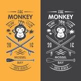 Małpi surfingu klubu emblemat Zdjęcia Stock