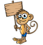 Małpia kreskówka z signboard Zdjęcie Royalty Free