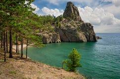 Mała piaskowata zatoka na Jeziornym Baikal Fotografia Royalty Free