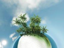 Mała planeta, ocean, tropikalna wyspa, drzewek palmowych 3D ilustracja Zdjęcie Royalty Free