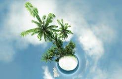 Mała planeta, ocean, tropikalna wyspa, drzewek palmowych 3D ilustracja Zdjęcie Stock