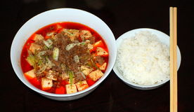 Ma po tofu. A bowl of ma po tofu and a bowl of steamed rice Stock Images
