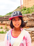 Mała przewdonik dziewczyna w Mingun, Mandalay, Myanmar Obraz Stock