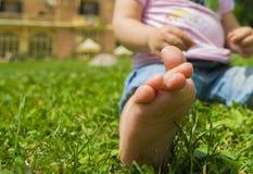 Mała stopa w trawie Obrazy Royalty Free