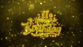 11ma tarjeta de felicitaciones de los deseos del feliz cumpleaños, invitación, fuego artificial de la celebración libre illustration