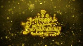 7ma tarjeta de felicitaciones de los deseos del feliz cumpleaños, invitación, fuego artificial de la celebración ilustración del vector