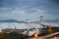 Ma van Tsang brug in Hongkong vóór Tyfoon. Royalty-vrije Stock Foto's