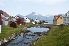Mała wioska w Faroe wyspach Zdjęcia Stock