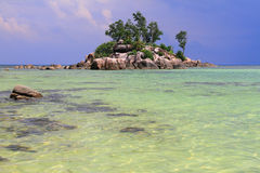 Mała wyspa (Ile Souris) Anse Królewski, Mahe, Seychelles Zdjęcie Stock