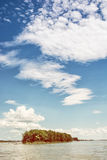 Mała wyspa z lasem na Danube rzece i niebieskie niebo z c Zdjęcia Stock