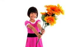 Mały azjatykci dziewczyna kwiat Zdjęcie Royalty Free