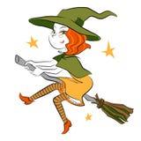 Mały czarownicy latanie na miotle Zdjęcia Royalty Free