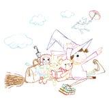Mały czarownik i przyjaciele, kredkowi rysunki royalty ilustracja