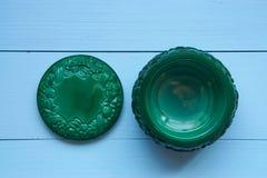Mały dekoracyjny zielony malachitowy garnek Fotografia Royalty Free