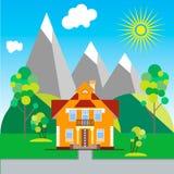 Mały dom blisko gór Fotografia Stock