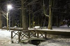 Mały drewniany most nocny w parku Zdjęcie Royalty Free