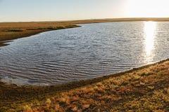 Mały jezioro w mongolian stepie zdjęcia royalty free
