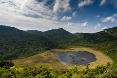 Mały jezioro z bagnem na Mljet wyspie - Chorwacja Obraz Stock