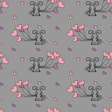 Mały królik i balonu bezszwowy wzór Zdjęcie Stock