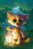 Mały lis z lampionem w lesie Zdjęcia Royalty Free