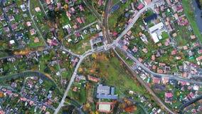 Mały miasto na widok z lotu ptaka Zdjęcia Stock