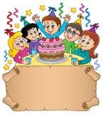 Mały pergamin z dzieciaka partyjnym tematem 1 Fotografia Royalty Free