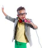 Mały piosenkarz i showman Zdjęcia Royalty Free