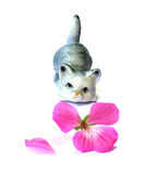 Mały porcelany figurki kot Obraz Royalty Free