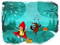 Mały Redhood i Wolfie taniec Obraz Royalty Free