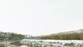 Mały rzeczny zima krajobraz zbiory wideo