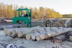 Ma?y tartak dla przerobowego drewna w wsi Osikowe bele fotografia royalty free