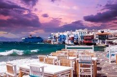 Mały Wenecja, Mykonos Wyspa, Grecja obrazy stock