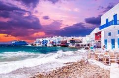 Mały Wenecja, Mykonos Wyspa, Grecja fotografia royalty free