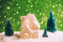 Mały zabawka dom z trzy sosnami Obrazy Stock
