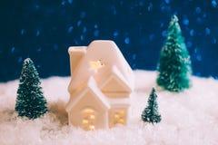 Mały zabawka dom z trzy sosnami Zdjęcie Royalty Free
