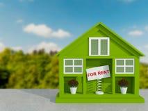 Mały zielony dom dla czynszu. Zdjęcie Stock
