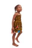 Mała amerykanin afrykańskiego pochodzenia dziewczyna odizolowywająca na białym tle Zdjęcia Royalty Free