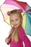 mała blond beauitful parasolkę Zdjęcia Royalty Free