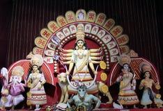 Maa Durga e la sua famiglia Immagine Stock
