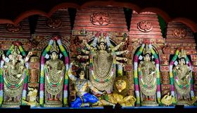 Maa Durga Idol With All Ornaments fotografia stock