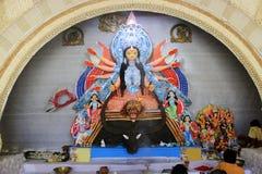 Maa Durga och hennes familj royaltyfria bilder