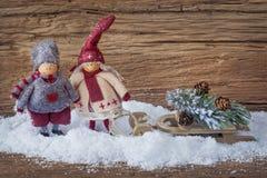 Mała dwa dekoracja Santa Zdjęcie Stock